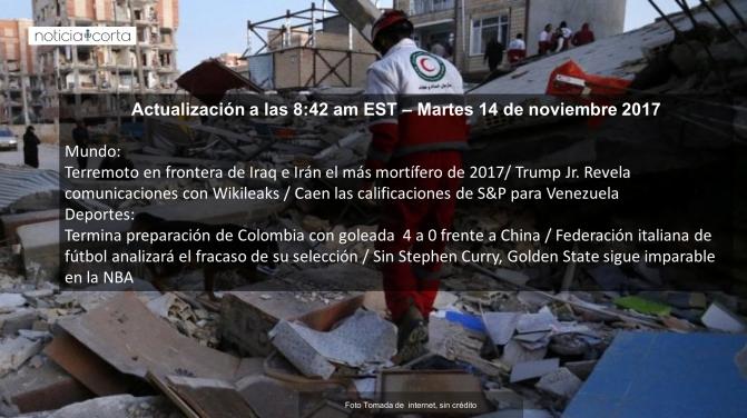 Noticias, martes 24 de noviembre de 2017